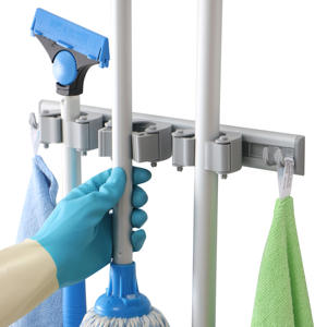 Multifunction Wall Mounted Plastic Mop Holder Adhesive Brush Broom Hanger Storage Rack Bathroom Home Garage Organizer