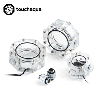 Bitspower Touchaqua Water Tank Octagonal Dual kit Package Digital RGB with 2pcs tank with flower 5v input power