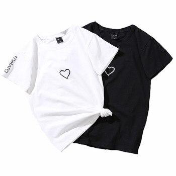 Letnia koszulka Harajuku topy damskie jednolite, luźne T Shirt z krótkim rękawem wyhaftowane serca angielski alfabet T-Shirt kobieta