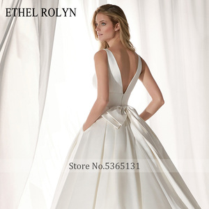 Image 5 - ETHEL ROLYN Elegant Satin Vintage Wedding Dress 2020 Sexy V neckline Bow Simple Bride A Line Bridal Gowns Vestido De Noiva