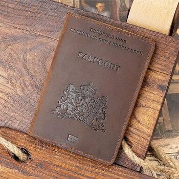 Genuine Leather Nederlands Passport Cover Men Travel holder nederland Business Paspoort Hoesje