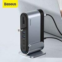 Baseus-concentrador de red USB tipo C a Multi HDMI, compatible con USB 3,0 con adaptador de corriente, estación de acoplamiento para MacBook Pro, Huawei Mate 30