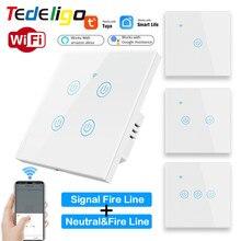 Tedeligo Smart Life WiFi Touch Glass Wall Switch Light APP nessun filo neutro richiesto 1/2/3/4 Gang Tuya EU Voice Google Home Alexa