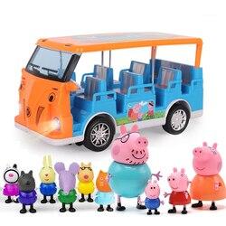 Peppa pig brinquedos carro escola ônibus peppa pig amigos família figura de ação anime brinquedos de turismo carro simulação casa para presentes do miúdo
