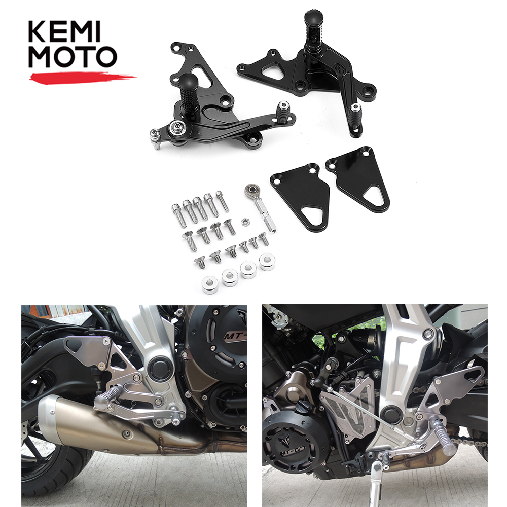 KEMiMOTO Adjustable Rearsets For Yamaha MT-07 FZ-07 2013 2014 2015 2016 CNC Rear Sets Footrest Foot Rest Pegs Motorcycle Parts