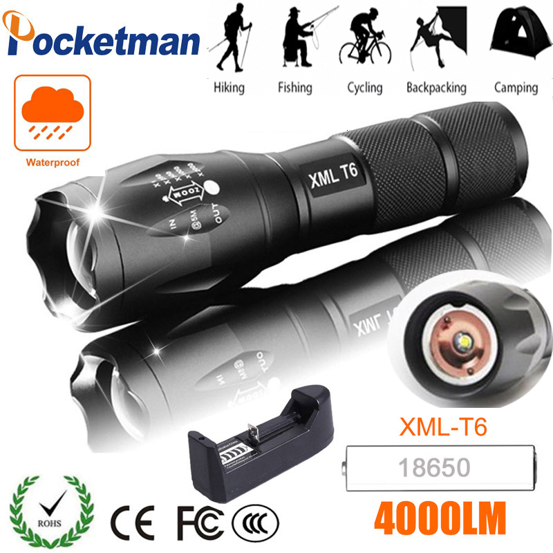 Flashlight Torch T6 Led Torch USB Rechargeable Power By 1*18650 Battery Powerful Waterproof Light Best For Climbing Camping