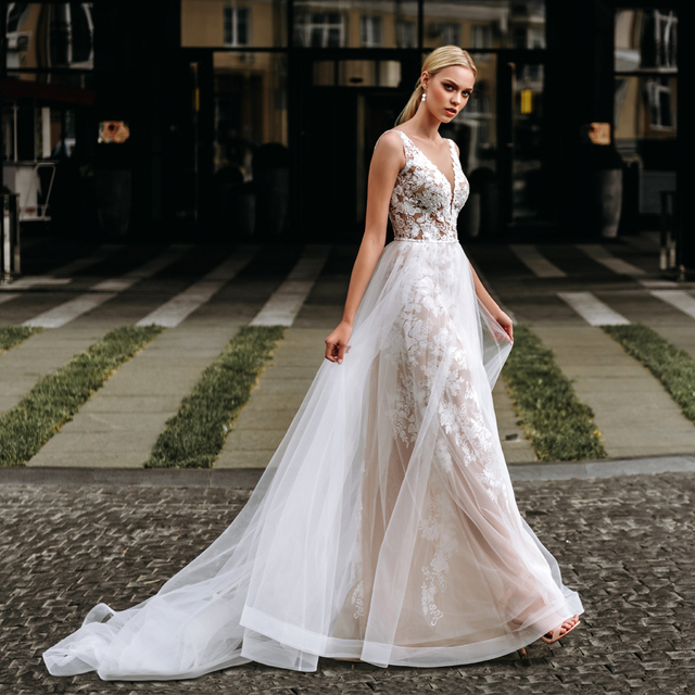 Spaghetti Straps Dark Champagne Lace and Tulle Sheath Wedding Dress with Crystals Open Back Long Elegant Bridal Dress 1