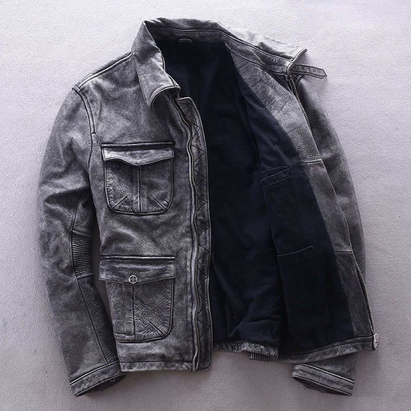 M65 Motorcycle Men Cowhide Genuine Leather Jacket Male Slim Fit Vintage Multi-pocket Locomotive Clothing Biker Coat