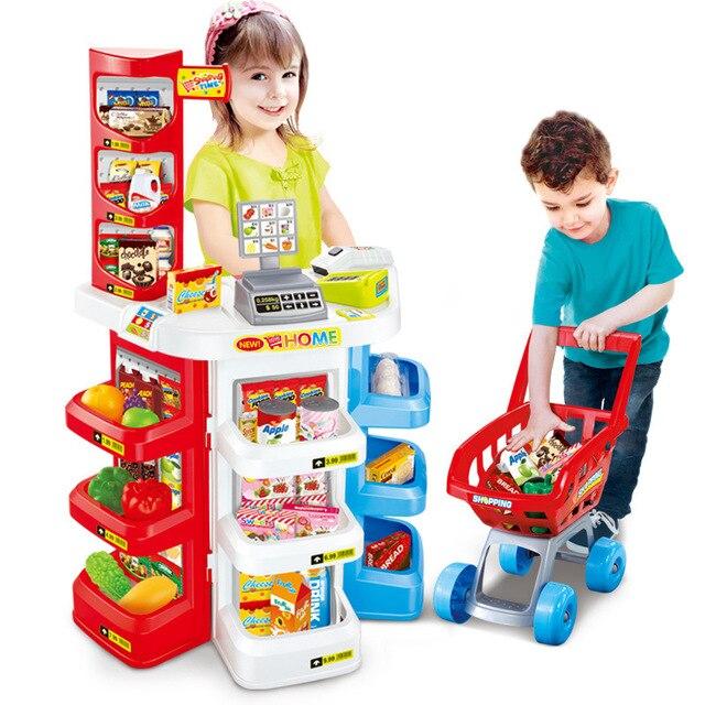 Pretend Play xuesnrol Pretend Play Set for Kids Supermarket Cash ...