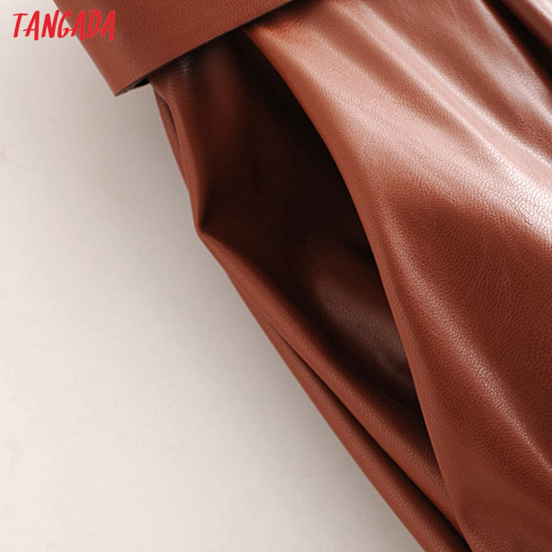 Tangada women black faux leather suit pants high waist pants sashes pockets 2019 office ladies pu leather trousers 6A05 69