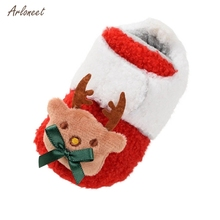 ARLONEET Baby Shoes Newborn Baby Girls Boys Cartoon Fluffy Deer Warm Boot First Walkers Christmas Shoes Soft Sole First Walker cheap Cotton Fabric Shallow All seasons Hook Loop Cartoon Animation Unisex Fits true to size take your normal size new born shoes