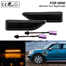 2Pcs For MINI Countryman F60 2017 2018 2019 2020 2021 Smoked Dynamic Sequential LED Side Marker Light Flowing Turn Signal Lamp