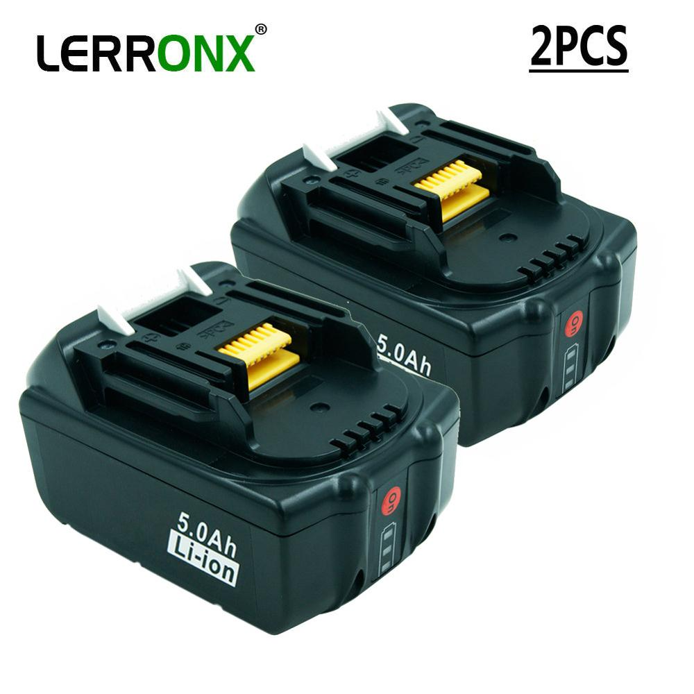2PCS BL1850 BL1830 Rechargeable Battery 18V 5A Li Ion With LED Light For Makita LXT400 194204-5 194230-4 Replacement Batteries