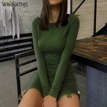 WannaThis Casual Women Party Dress Slim Irregular O-Neck Long Sleeve Autumn Winter 2019 Green Solid Simplicity Lady Mini Dresses
