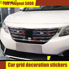 For Peugeot 5008 408 New 308 301 2008 308S 3008 Model 9Pcs Three Color Middle Mesh Strip Network Decoration Stickers Accessories