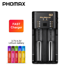 PHOMAX 2 slot 18650 Q2 LED smart display battery power fast charger for 17650 26500 22650 IMR/lithium ion rechargeable battery