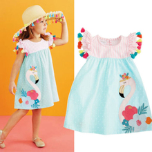 Baby Kids Girls Flamingo Print Striped Dress For 1-6 Years