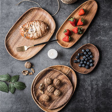 Acacia irrégulière ovale soucoupe bol à thé Fruit Dessert petit déjeuner dîner assiette ménage cuisine en bois massif ensemble de vaisselle