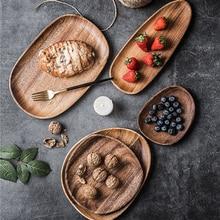 Acacia Irregular Oval Saucer Tea Bowl Fruit Dessert Breakfast Dinner Plate Household Kitchen Solid Wood Tableware Set