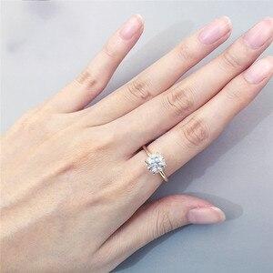Image 5 - CxsJeremy 2.0Ct yuvarlak Solitaire Moissanite nişan Ring14K sarı altın Moissanite elmas düğün Band yıldönümü hediyesi