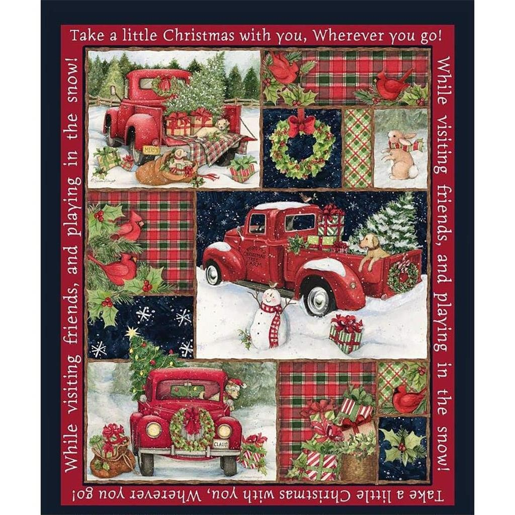 Funny 36x44 inch Christmas fabric red truck collage gift Panel snowman gift snow cotton pumpkin car pattern gift