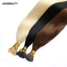 Addbeauty Real Human I Tip Hair Extensions 0.8g 1g Brazilian 50pcs Remy Hair Bundle Weaves Extension Set For Women Human Hair