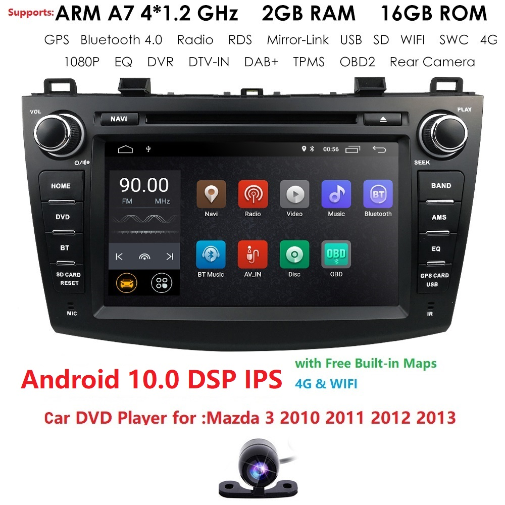 8 inch Android 10.0 Double din Car DVD Player <font><b>GPS</b></font> <font><b>Navigation</b></font> stereo Radio Can bus for <font><b>Mazda</b></font> <font><b>3</b></font> 2010 2011 2012 2013 Remote control image