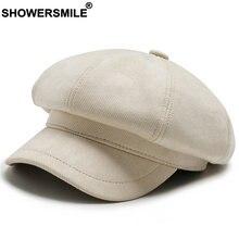 Женская бежевая шапка showersmile хлопковая винтажная восьмиугольная