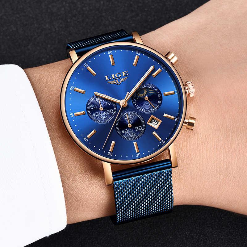 LIGE relojes de moda para hombre, reloj de cuarzo de lujo de marca, reloj deportivo a prueba de agua, reloj de pulsera para hombre