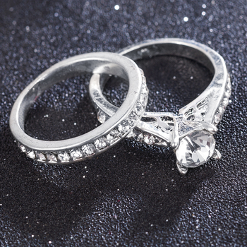 2Pcs/set Charm Lovers Ring Bijoux Femme Fashion Jewelry Bijoux Crystal Engagement Wedding Rings For Women Men Anel 3