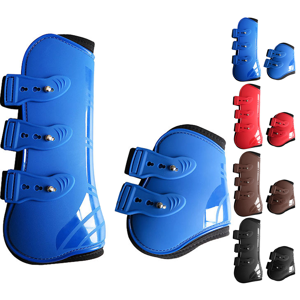 4pcs Practical Front Hind Brace Protection Wrap Farm Horse Leg Boots Adjustable Training Guard Durable Equestrian Outdoor Riding
