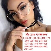 Gafas de ojo de gato para las mujeres de aleación Anti-Luz Azul miopía gafas lente claro de lujo espectáculo marcos Anti-reflectante gafas-1 -6.