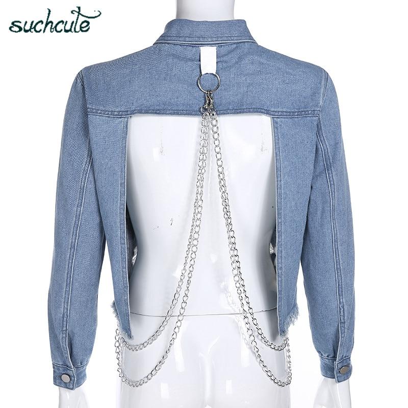 SUCHCUTE Hole Denim Jacket With Metal Chain Women Gothic Kpop Bangtan 2019 Hip Hop Harajuku Hoodie Sweatshirt Clothes Moletom in Jackets from Women 39 s Clothing