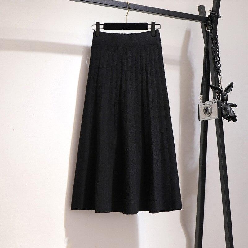 Image 2 - Surmiitro Knitted Midi Pleated Skirt Women For Autumn Winter 2019 Korean Ladies High Waist White Black Pleated Skirt Female-in Skirts from Women's Clothing