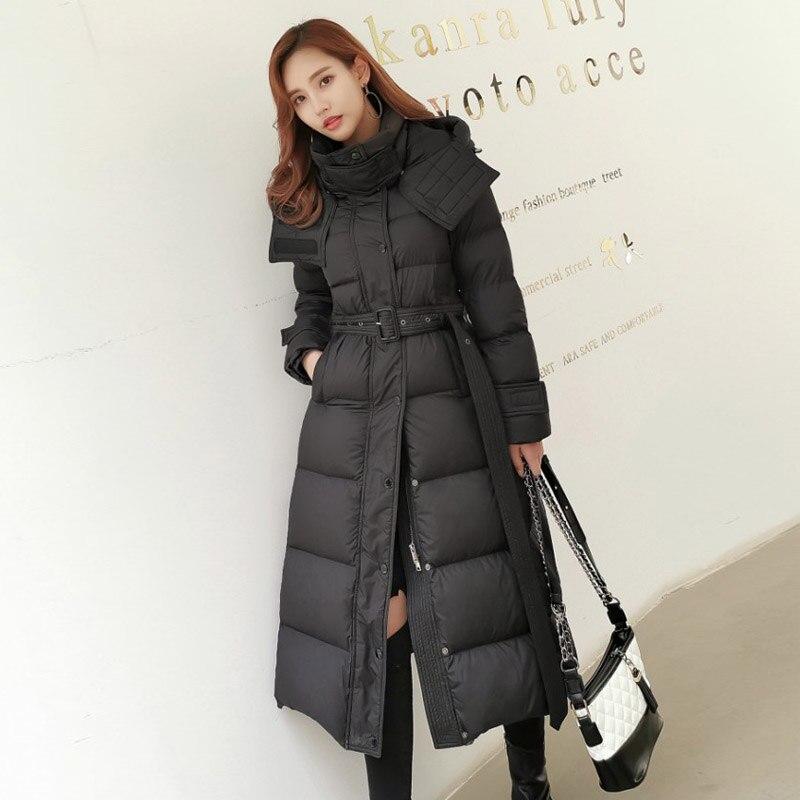 90% White Duck   Down   Jacket Women Winter Long Thick Warm   Coat   Hooded Women Korean Female Puffer Jacket Snow Outwear Waterproof