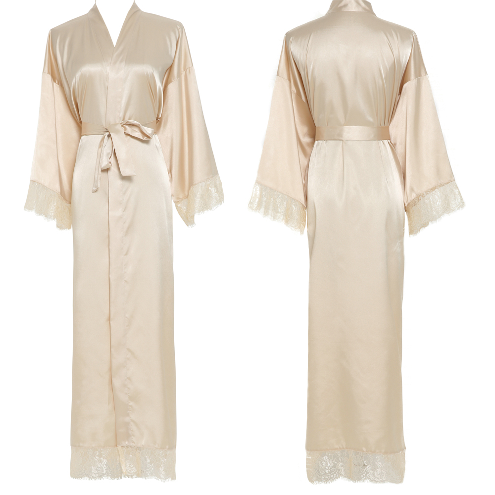 Women Sexy Gray Large Plain Bride Kimono Satin Silk Lace Robe Sleepwear Dress Gown Wedding Robe Bathrobe Ladies Long Gowns New