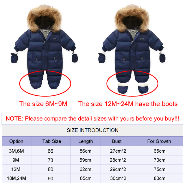 Baby Thick Warm Hooded Snowsuit 6