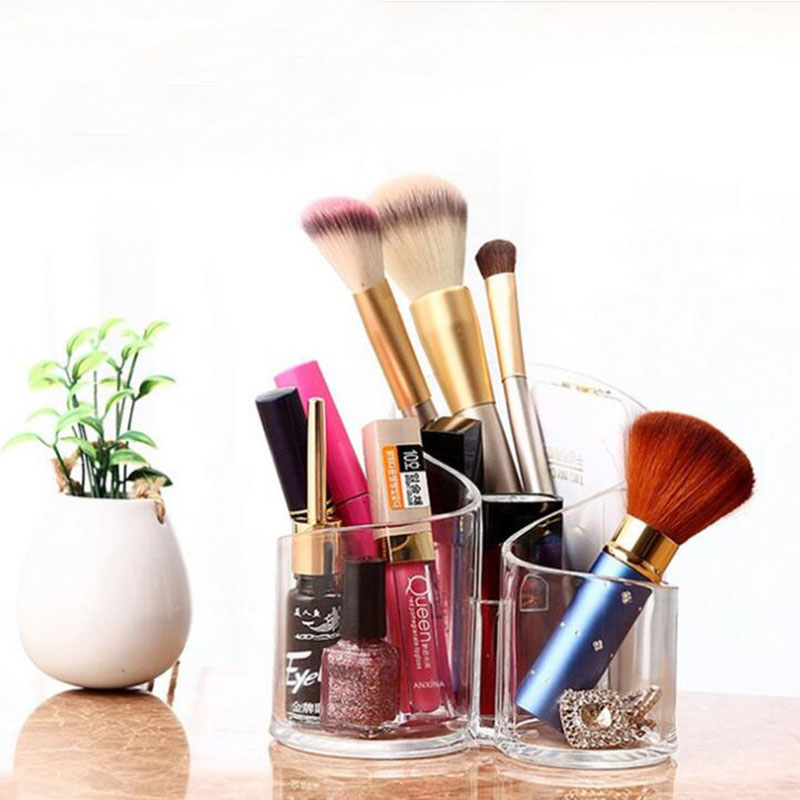 Makeup Brush Storage Box Cosmetic Organizer Lipstick Display Stand Transparent Storage Box Bathroom Desktop Home Finishing