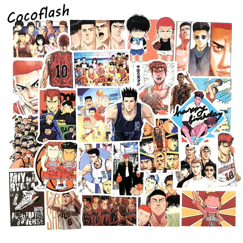 50pcs/Lot Cool Basketball Anime SlamDunk Sticker Cartoon Graffiti Stickers For Car Moto Suitcase Laptop Skateboard Kid Stickers
