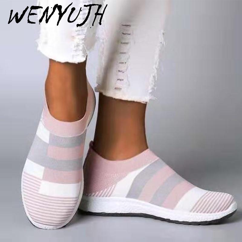 WENYUJH Women's Casual Vulcanized Shoes Woman Mesh Sneakers 2020 Women Knitted Flat Ladies Slip On Female Footwear Dropshipping