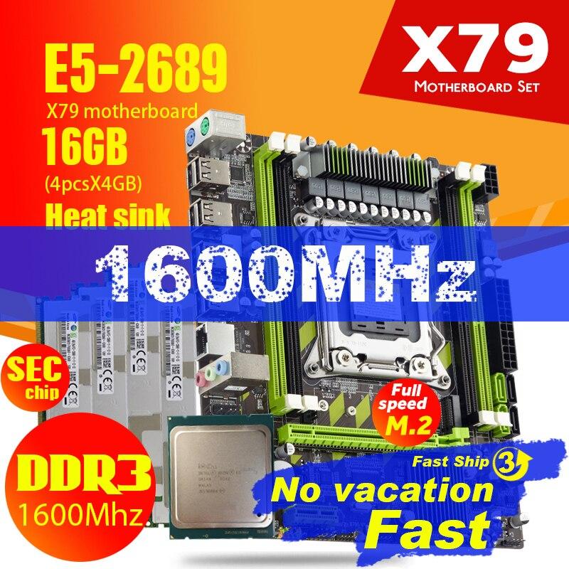 X79G X79 материнская плата с LGA2011 Combos Xeon E5 2689 CPU 4 шт. x 4 ГБ = 16 Гб памяти DDR3 RAM радиатор 1600 МГц PC3 12800R