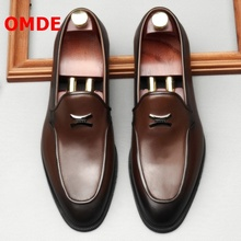 OMDE New Fashion Slip On Men Shoes Leather Casual Shoes Korean Style Soft Sole Loafers Handmade Men's Banquet And Wedding Shoes цена