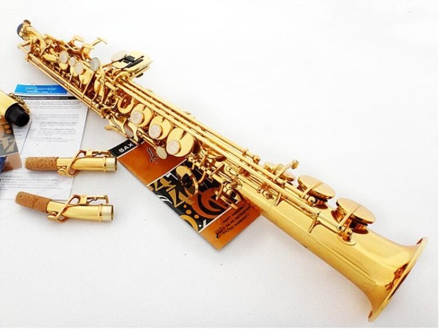 Brass Soprano Saxophone SS-610 B Flat Woodwind Instrument Natural Shell Key Carve Pattern