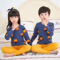 Cartoon Kinder Pyjamas Sets Baumwolle Jungen Nachtwäsche Anzug Winter Kind Mädchen Pyjamas Langarm Tops + Hosen 2 stücke Kinder kleidung