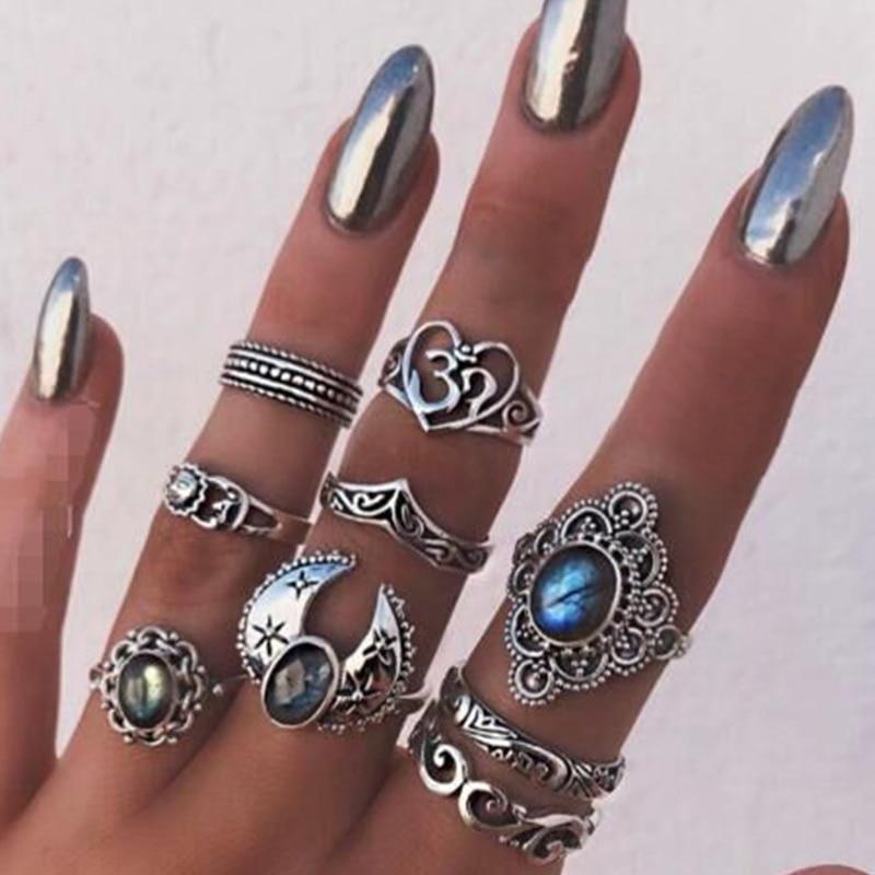 Tocona 9 pièces/ensemble Vintage Antique argent couleur étoiles lune bague ensemble pour les femmes bleu Knuckle Joint bagues ethniques bijoux 14355