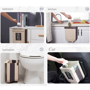 Image 3 - Kitchen Cabinet Door Hanging Trash Can Garbage Can Folding Waste Bins Kitchen Hanging Collapsible Dry Wet Separation Trash Can