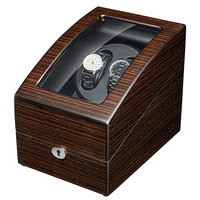 JQUEEN Ebony Solid Wood Automatic Double Watch Winder with 3 Storage Box Case Quiet Mabuchi Motor Support Battery With Key