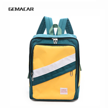 купить Casual Student Backpack Canvas Unisex Fashion Contrast Color Bagpack Youth Travel Bag High Quality Simple Stitching Backpack дешево