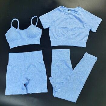 4PCS Seamles Sport Set Women Purple Two 2 Piece Crop Top T-shirt Bra Legging Sportsuit Workout Outfit Fitness Wear Yoga Gym Sets 17