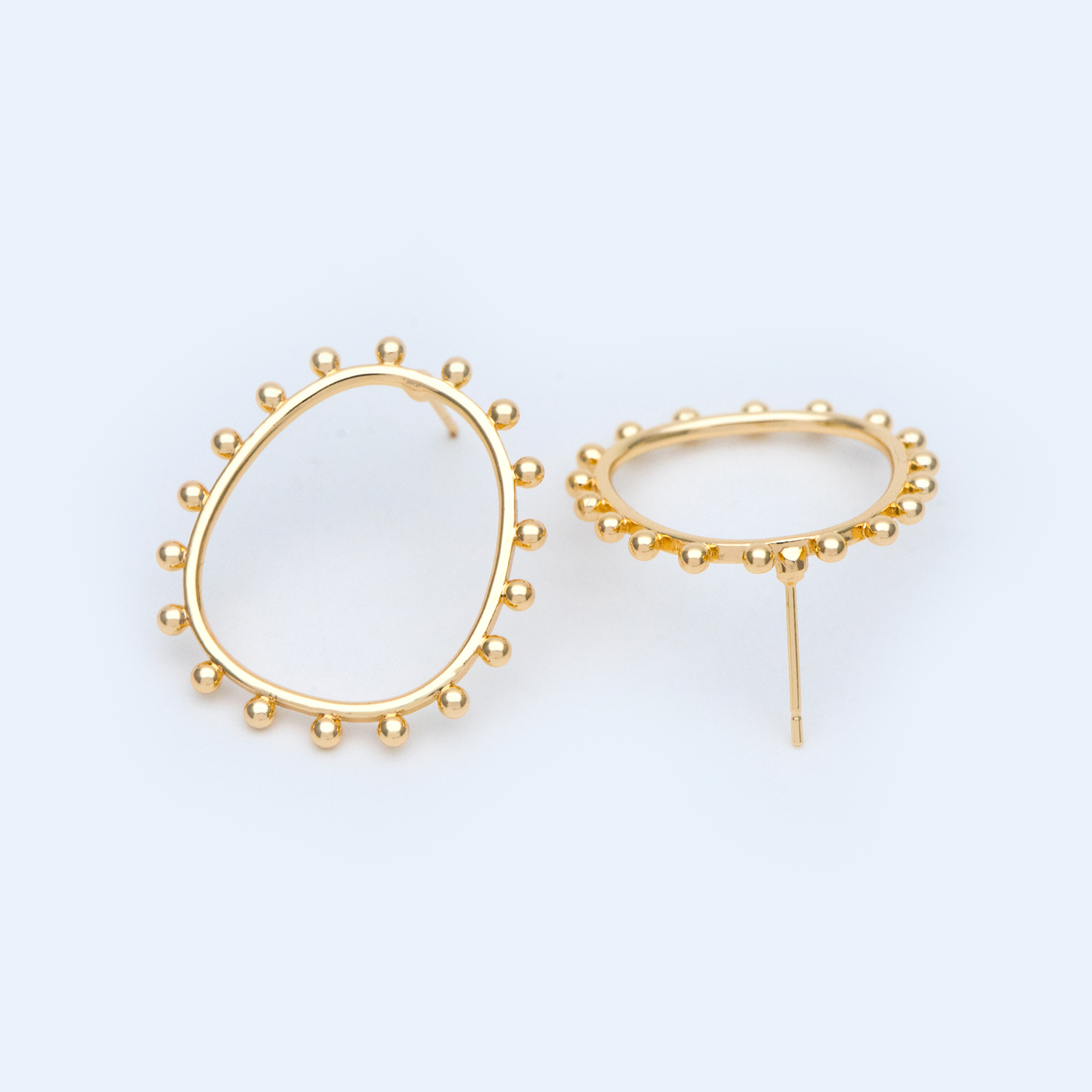 10pcs Gold Oval Hoop Ear Posts 28X25mm, Oval Circle Stud Earrings (GB-1088)
